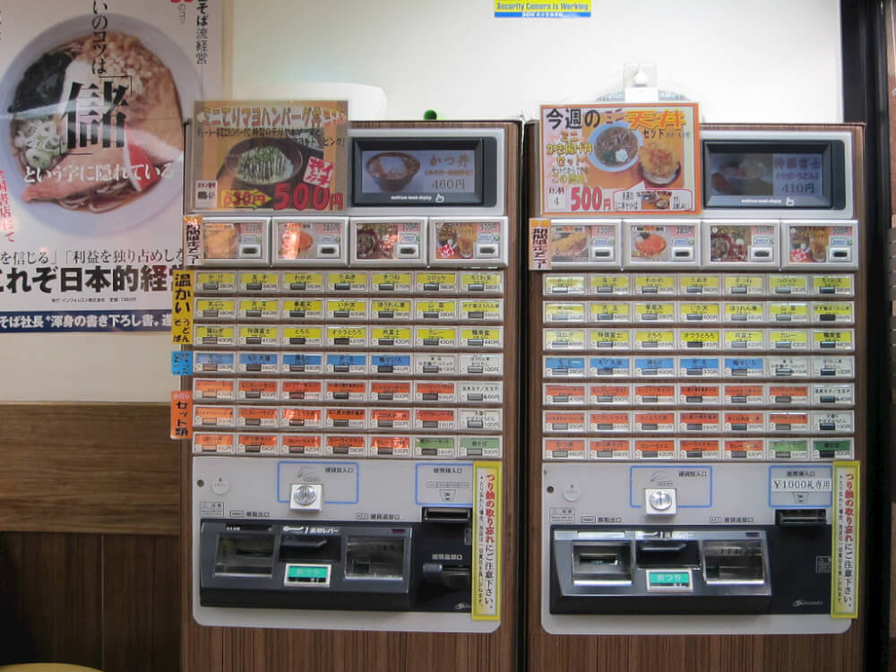 Meal ticket machines. Items are colour-coded for easy selection. Image courtesy of Cristina Bejarano (CC License)